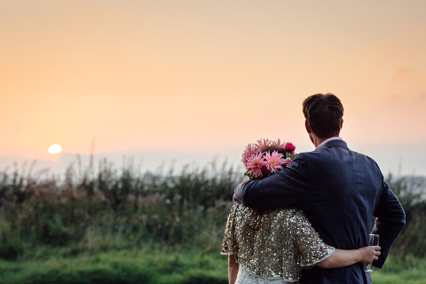 sunset wedding photography in devon